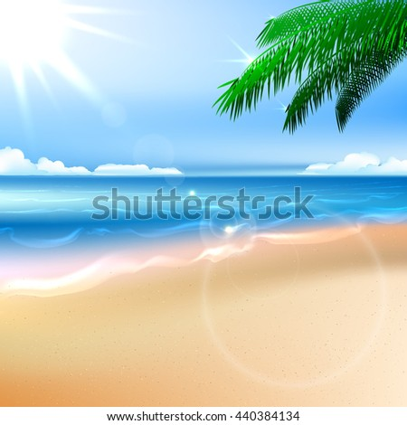 Beach and tropical sea with bright sun. Raster copy - stock photo