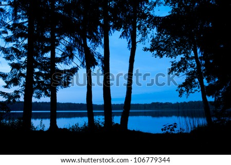 Beach and water in the summer night - stock photo