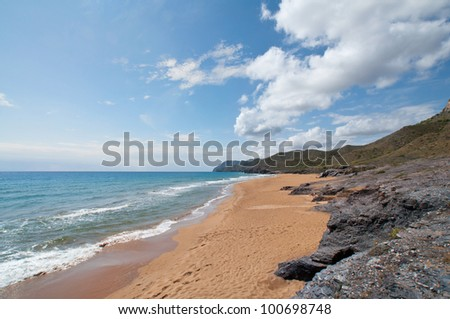 Beach at Calblanque environment located on the coast of Cartagena (Murcia)