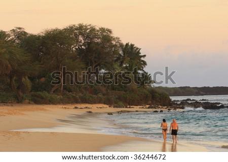 beach at dusk - stock photo