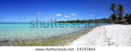 Beach at Huahine, French Polynesia - stock photo
