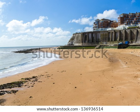 Beach at Louisa Bay Broadstairs on the Isle of Thanet, Kent England UK - stock photo