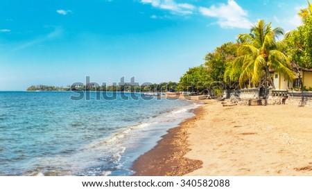 Beach at Lovina, Bali, Indonesia - stock photo