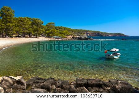 Beach at Phaselis in Antalya, Turkey - travel background - stock photo