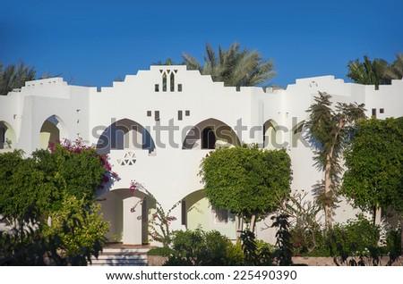 Beach at the luxury hotel, Sharm el Sheikh, Egypt. - stock photo