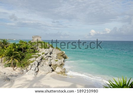 Beach at Tulum, cancun, Mexico - stock photo