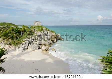 Beach at Tulum, cancun, Mexico - stock photo