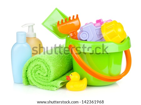 Beach baby toys, towel and bottles. Isolated on white background