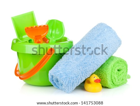 Beach baby toys, towels and bottles. Isolated on white background - stock photo