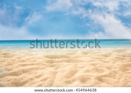 beach background for summer travel with sand beach, beautiful blue sea and  cloudy sky, abstract background for summer vacation concept.