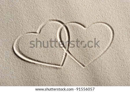 Beach background with hearts drawing