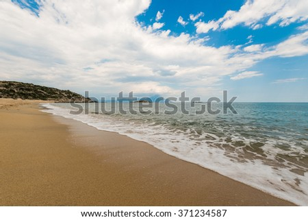 Beach background , Yellow sand beach and blue sky and sea