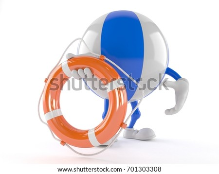 Beach ball character holding life buoy isolated on white background. 3d illustration