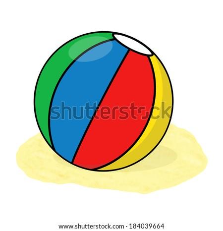 Beach ball illustration; Isolated ball in the sand cartoon - stock photo