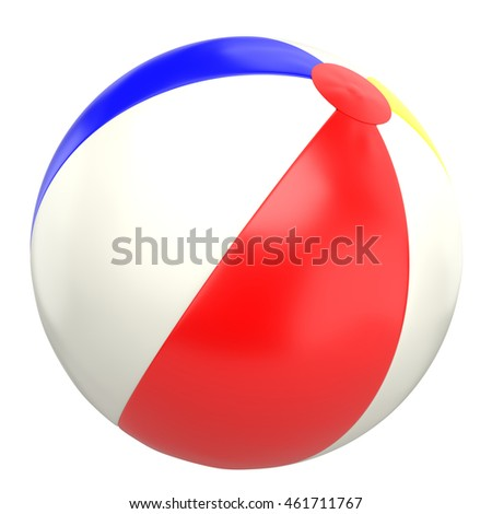 Beach ball, isolated on white background, realistic 3D rendering