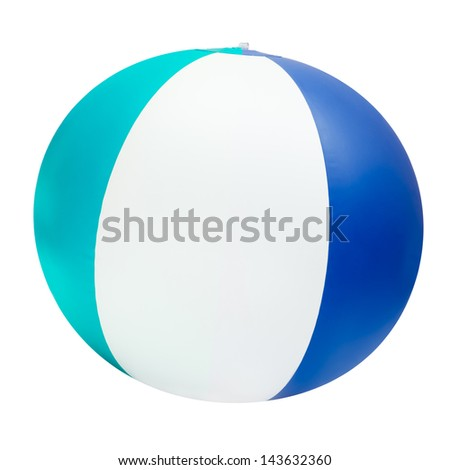 Beach ball isolated on white with clipping path - stock photo