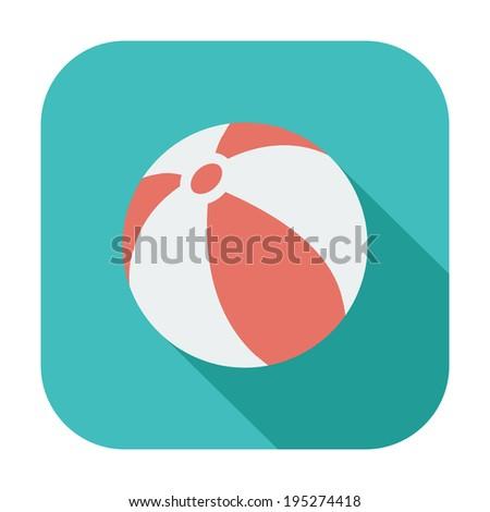 Beach ball. Single color flat icon.  - stock photo