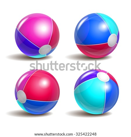 Beach balls in different positions isolated on a white background. Symbol of summer fun at the pool or seaside.