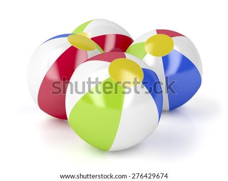 Beach balls on white background - stock photo