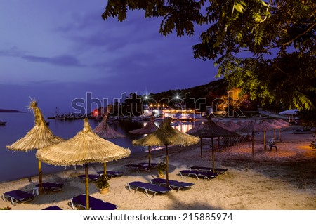 Beach bar in Sithonia, Chalkidiki, Northern Greece - stock photo