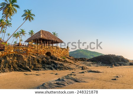 beach bar on the seashore in the tropics - stock photo