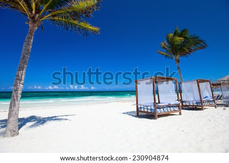 Beach beds among palm trees at Caribbean coast - stock photo