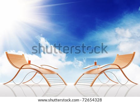 Beach bench on a background of the sky. 3d