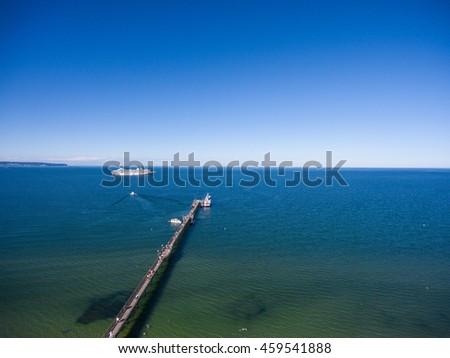 Beach Binz Island Ruegen Germany Mecklenburg aerial view - stock photo