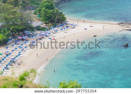 Beach bird eye blue sea