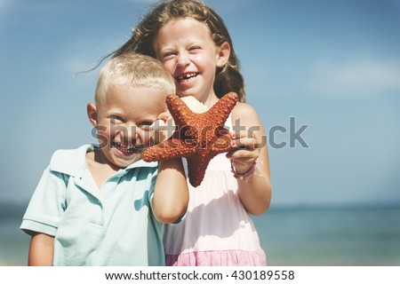 Beach Blond Child Starfish Cute Adolescence Sea Concept - stock photo