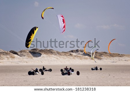 Beach Buggies in St. Peter-Ording, Germany - stock photo