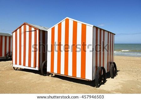 Beach cabins at the Northsea, De Panne, Belgium