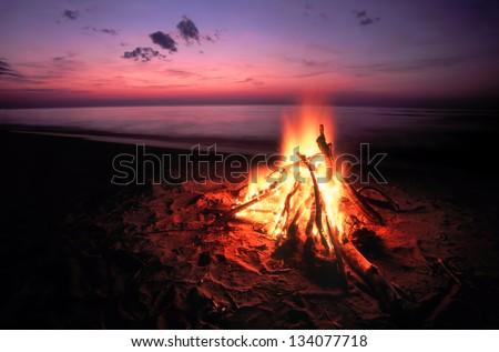 Beach Campfire on Lake Superior - stock photo