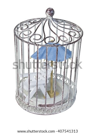 Beach Chair and Blue Umbrella in Birdcage - path included