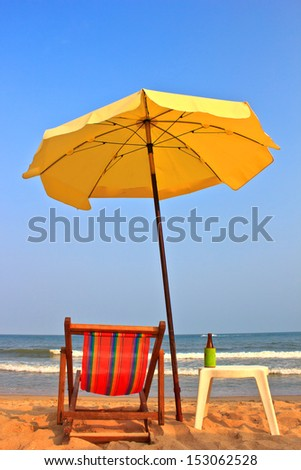 Beach chair and umbrella on tropical beach in Cha-Am ,Thailand