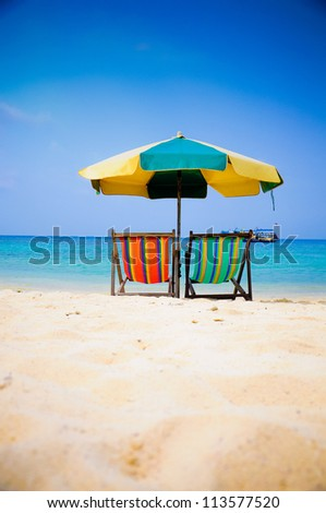 Beach Chair at Nang Yuan Island , Thailand - stock photo