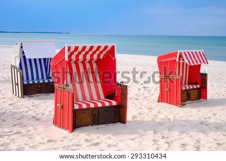Beach chair at the Baltic Sea - stock photo