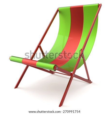 Beach chair chaise longue nobody green red relaxation holidays spa resort summer sun tropical sunbathing travel leisure comfort outdoor concept. 3d render isolated on white  - stock photo