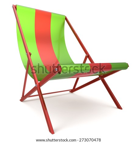 Beach chair green red chaise longue nobody relaxation holidays spa resort summer sun tropical sunbathing travel leisure comfort outdoor concept. 3d render isolated on white - stock photo