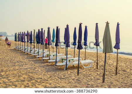 Beach chair on sunrise vacation holiday in summer season Relax Concept.  - stock photo