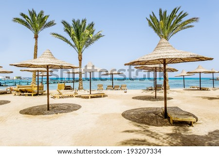 Beach, chair, umbrella, idyllic, tropical, sand, beach - stock photo
