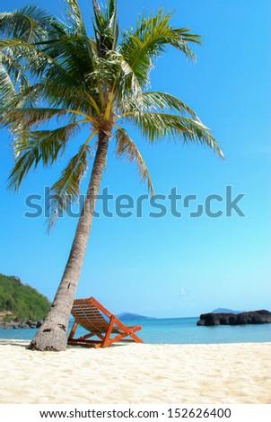 Beach Chair under Coconut Trees under blue sky - stock photo