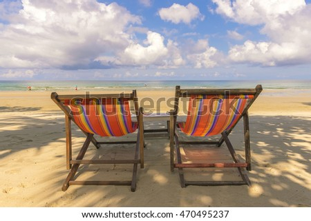 Beach chair with blue sky sun light day