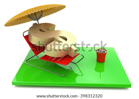 beach chair with dollar sign, saving money concept - 3D rendered illustration