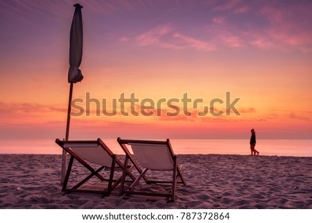 back of beach chair silhouette. Beach Chair With Twilight Time And The Back Is Blur Of Silhouette