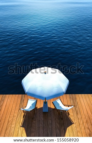 Beach chairs and  umbrella on seaside wooden terrace. High angle view 3d rendered - stock photo