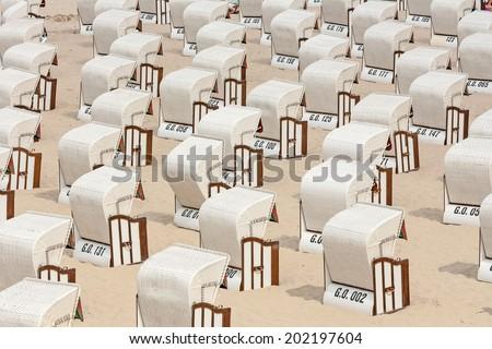 beach chairs at the beach, baltic sea - stock photo