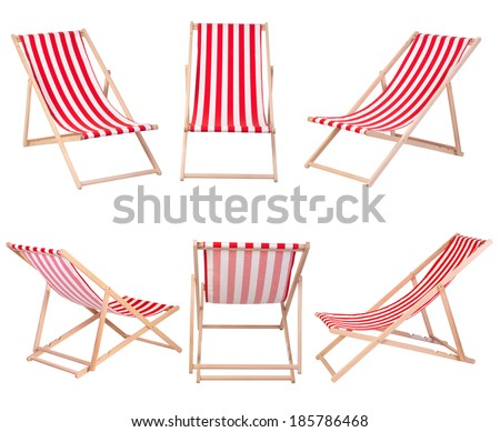 Beach chairs isolated on white background - stock photo
