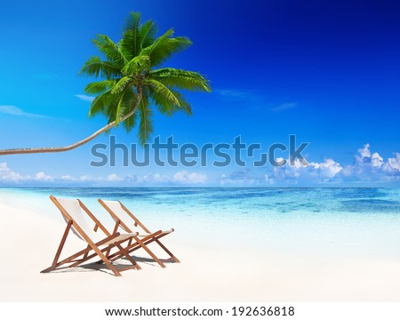 Beach chairs on a tropical beach.