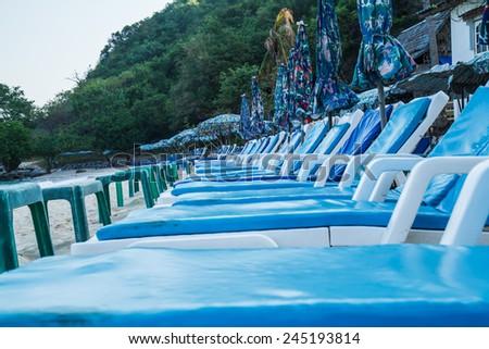 Beach chairs on Koh Larn Pattaya.Thailand - stock photo